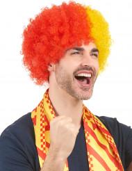 Röd-gul supporterafro för vuxna