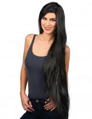 Svart lång peruk
