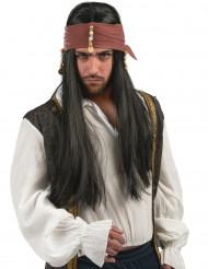 Pirat med rakt hår och flätor - Peruk till maskeraden