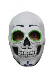 Skelettmask med Grön Färg Runt Ögonen
