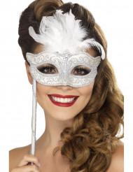 Silvrig Venetiansk Mask med Vita Fjädrar Vuxen