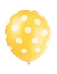 6 gula ballonger med vita prickar - Kalasdekor