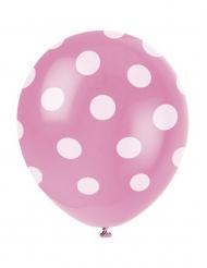 6 rosa ballong med prickar - Festdekoration