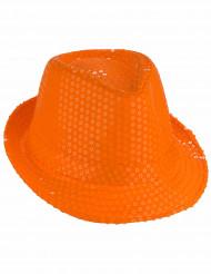 Orange hatt med paljetter - Maskerdhatt för vuxna