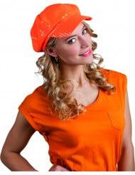 Orange keps med paljetter - Maskeradhattar för vuxna