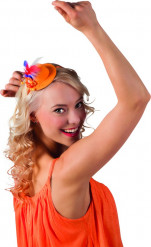 Orange Minihatt med Trefärgade Fjädrar Vuxen