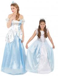 Blå prinsessor pardräkt mor & dotter