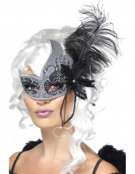Svart Ängel Venetiansk Mask med Stora Svarta Fjädrar Vuxen