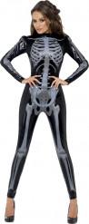 Svart sexig skelettdräkt Halloween dam