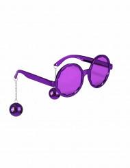 Lila glasögon med discokulor - Maskeradtillbehör för vuxna