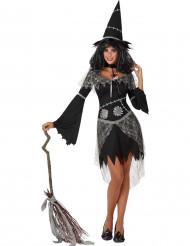 Grå och svart häxutklädnad vuxen till Påsk eller Halloween