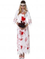 Maskeraddräkt för blodig brud Halloween dam