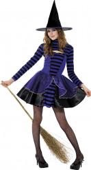 Lila och svart häxa - utklädnad tonåring Halloween