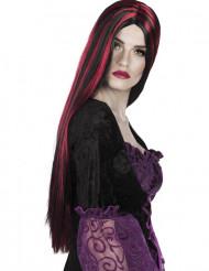 Lång röd och svart peruk vuxen Halloween