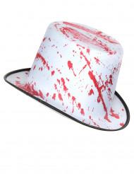 Vit hatt med blodstänk vuxen Halloween