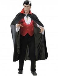 Vampyrslängkappa med röd krage vuxen Halloween