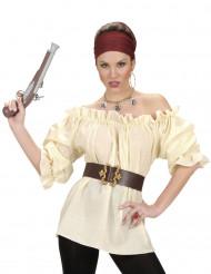 Beige Piratskjorta för vuxna till maskeraden