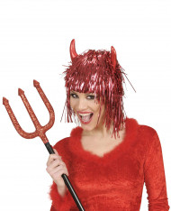 Rödglittrig djävulsperuk vuxen Halloween