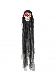 Hängande dödskalle med lysande ögon - Halloweenpynt