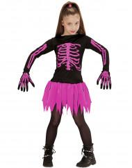 Skelettdräkt rosa barn