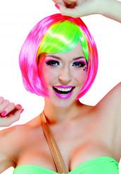 Rosa peruk med flerfärgad pannlugg page vuxen