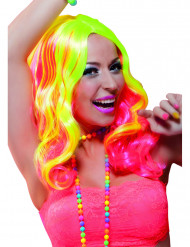 Neongul och rosa peruk vuxen