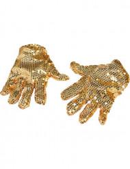 Handskar med guldpaljetter vuxen