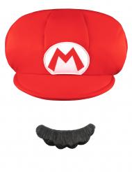 Mario™ mössa och mustasch barn