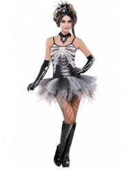 Sexig Skelettklänning med tyllkjol - Halloweenkostym för vuxna