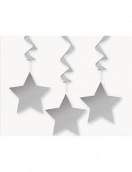 3 grå stjärndekorationer