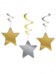 3 hängande stjärnor - Pynt till jul och nyår