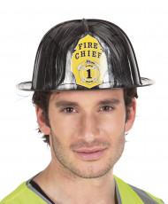 Svart brandmanshjälm