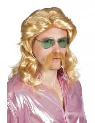 Blond peruk och mustasch vuxen
