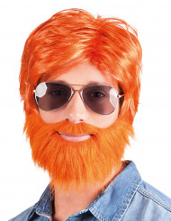 Rödlätt peruk med skägg och mustasch vuxen