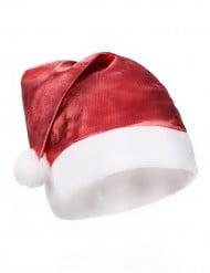 Röd metallaktig tomteluva vuxen Jul