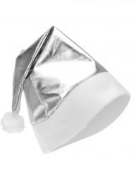 Silverfärgad metallaktig tomteluva vuxen Jul