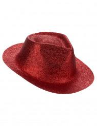 Glittrig röd hatt för vuxna