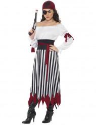 Maskeraddräkt pirat randig dam
