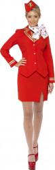 Röd flygvärdinnedräkt för vuxna till maskeraden