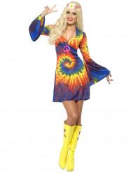Maskeraddräkt hippi färggrann dam