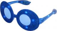 Blå, ovala glasögon med glitter