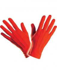Korta röda handskar vuxenstorlek