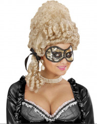 Guld mask med svart spets, vuxenstorlek