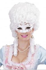 Vit venediginspirerad mask med strass, vuxenstorlek