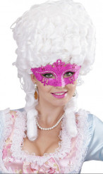 Rosa venediginspererad mask med strass, vuxenstorlek