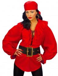 Röd Piratskjorta för vuxna - Maskeradkläder för vuxna