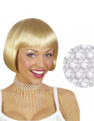 Chocker med vita pärlor, damstorlek
