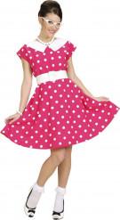 Maskeraddräkt rosa klänning med vita prickar 50-tal
