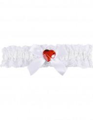 Sexigt vitt strumpeband med rött hjärta