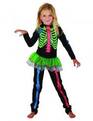 Neonfrägat skelett med tyllkjol - Maskeraddräkt för barn